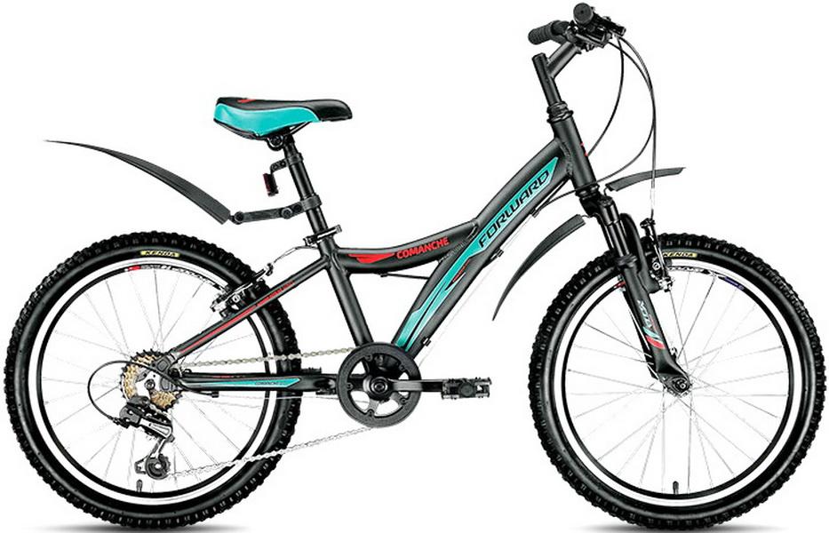 """Велосипед 20"""" Forward Comanche 2.0 6ск, алюминиевая рама, V-br, чёрный"""