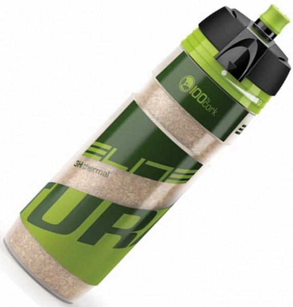Фляга  (500ml) Elite, Turacio, EL0141303, термо 3 часа, мембранный клапан, наполнитель из пробки дерева, зелёная