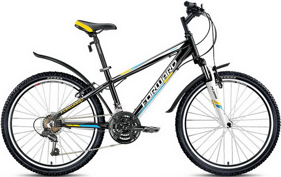 "Велосипед 24"" Forward Twister 1.0 18ск, алюминиевая рама, V-br, чёрный"