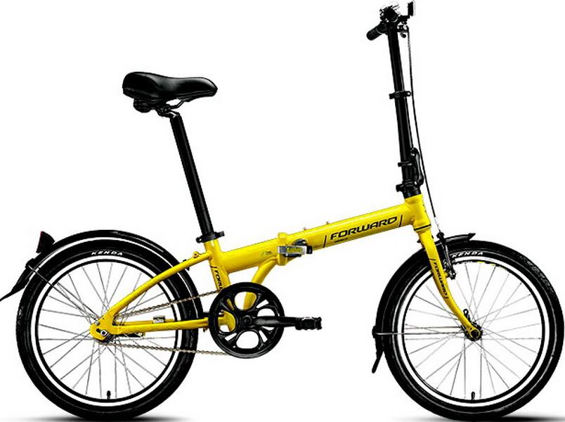 """Велосипед 20"""" Forward Enigma 1.0 1ск, складной, AL, V-br, жёлтый, 2017г."""