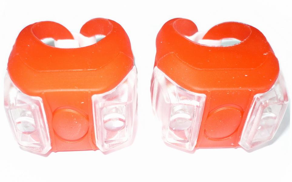 Фонарь задний + передний Vinca Sport 2 диода, 4 режима, силикон, с батарейками, VL 215, красный   v