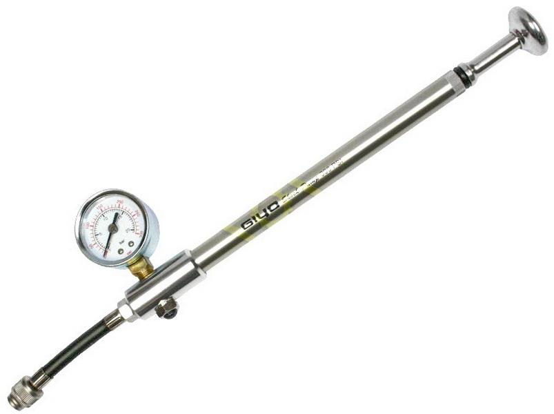 Насос GIUO GS-01, AL, высокого давления (для вилок и задних амортизаторов), Max. 300 PSI (21атм), с манометром   а