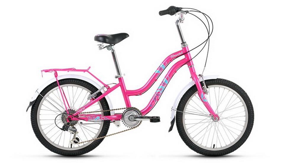 """Велосипед 20"""" Forward Evia 7ск, St, V-br, розовый, 2017г."""