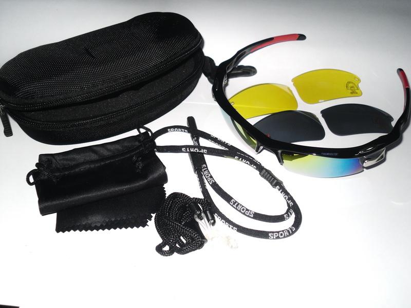 Велоформа Очки Cigna XS-214, оправа чёрно-красная, линзы поликарбонат UV400 - хамелеон, серые, жёлтые