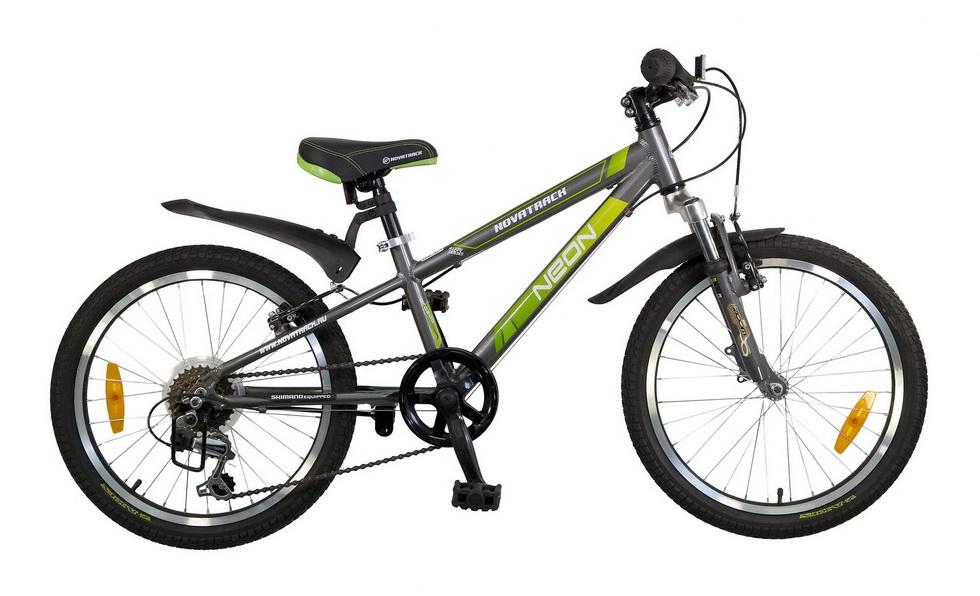 """Велосипед 20"""" Novatrack Neon, 6ск, алюминиевая рама, тёмно-серый"""