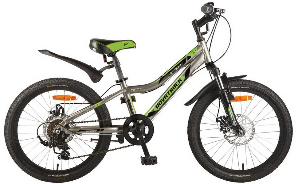 """Велосипед 20"""" Novatrack Action, 6ск, алюминиевая рама, Disс, серый"""