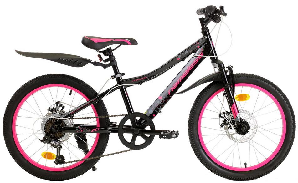 "Велосипед 20"" Nameless J2000DW 7ск, алюминиевая рама, Disc, чёрно-розовый"