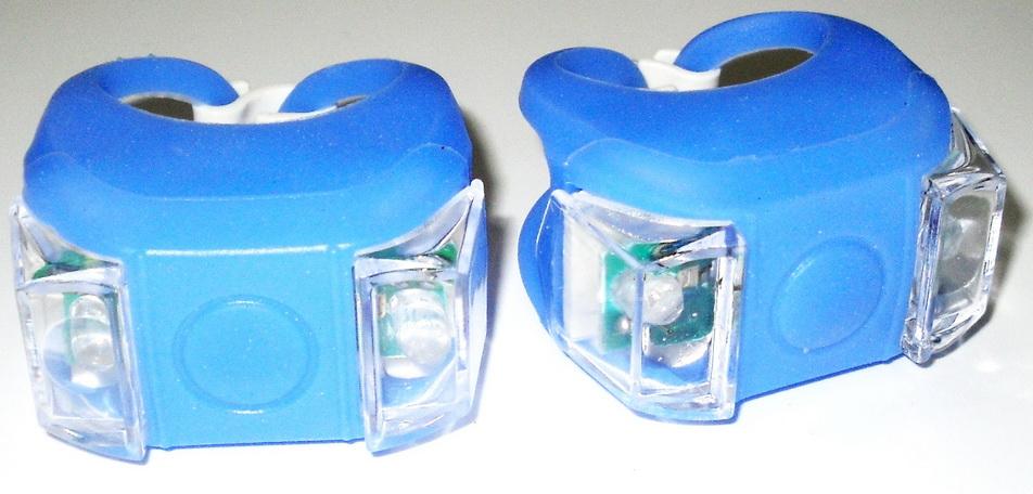 Фонарь задний + передний 2 диода, 3 режима, силикон, с батарейками, HL-009-2BL, синие   п