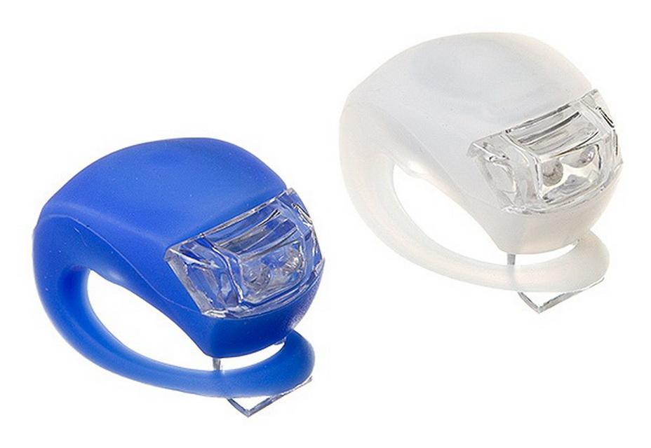 Фонарь задний + передний STG 2 диода, 4 режима, силикон, с батарейками, BC-RL8001 белый/синий   г