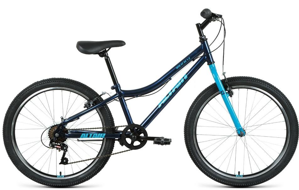 """Велосипед 24"""" Altair MTB HT 1.0 6ск, St, V-br, тёмно-сине-мятный, 2021г."""