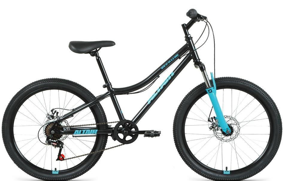 """Велосипед 24"""" Altair MTB HT 2.0 6ск, St, Disc, чёрно-бирюзовый, 2021г.   скидка 10%"""