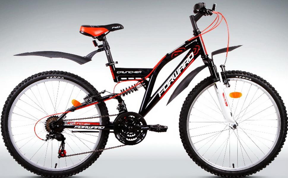 "Велосипед 24"" Forward Cruncher 2.0 18ск, 2-х подвес, St, V-br, чёрный"