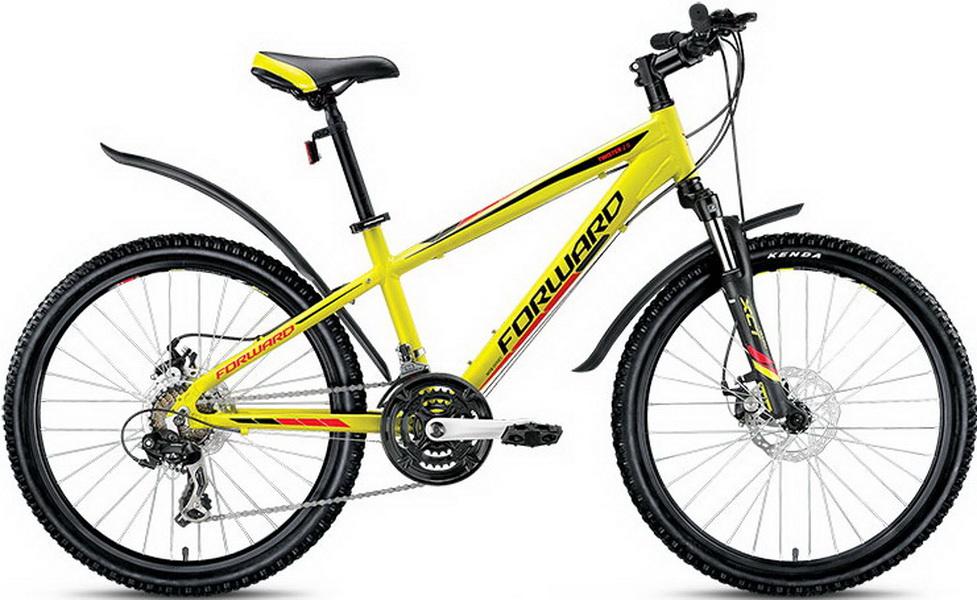 "Велосипед 24"" Forward Twister 2.0 21ск, алюминиевая рама, Disc, жёлтый, 2018г."