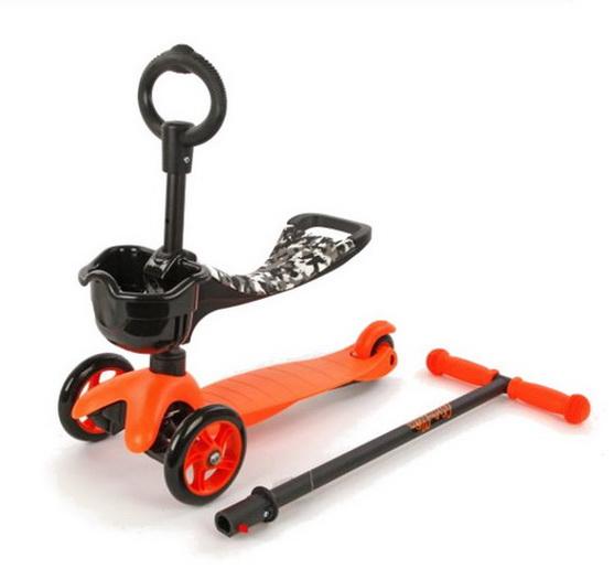 Самокат Moby Kids 64635 (120x80мм), 3-х колёсный, оранжевый