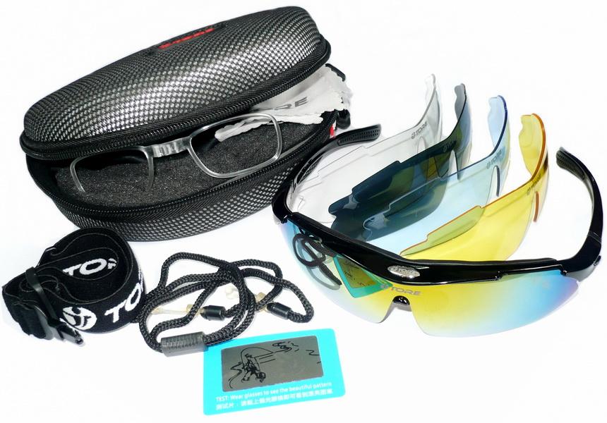 Велоформа Очки Tore 10, оправа чёрная, линзы поликарбонат UV400 - хамелеон, прозрачные, голубые, жёлтые, чёрные полиризованные    i