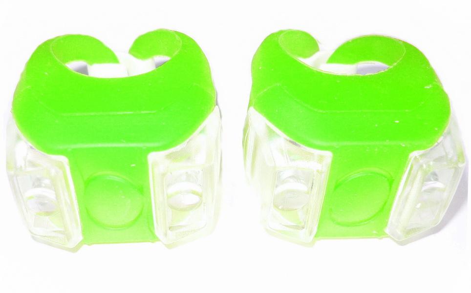 Фонарь задний + передний Vinca Sport 2 диода, 4 режима, силикон, с батарейками, VL 215, зелёный   v
