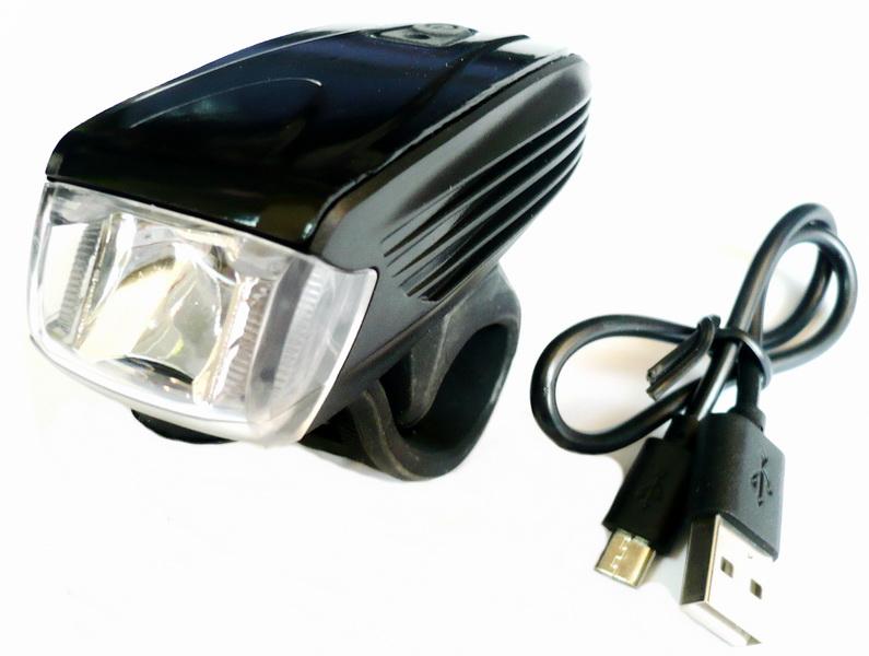 Фонарь передний VLX 1 диод, 5 режимов, 300Lm, аккумулятор, USB для зарядки, индикатор заряда батареи, HJ-051, VLX-1575, чёрный   а