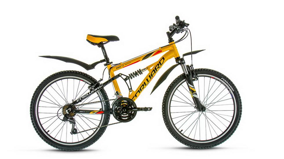 "Велосипед 24"" Forward Edge 1.0 21ск, 2-х подвес, алюминиевая рама, V-br, чёрно-жёлтый, 2017г."
