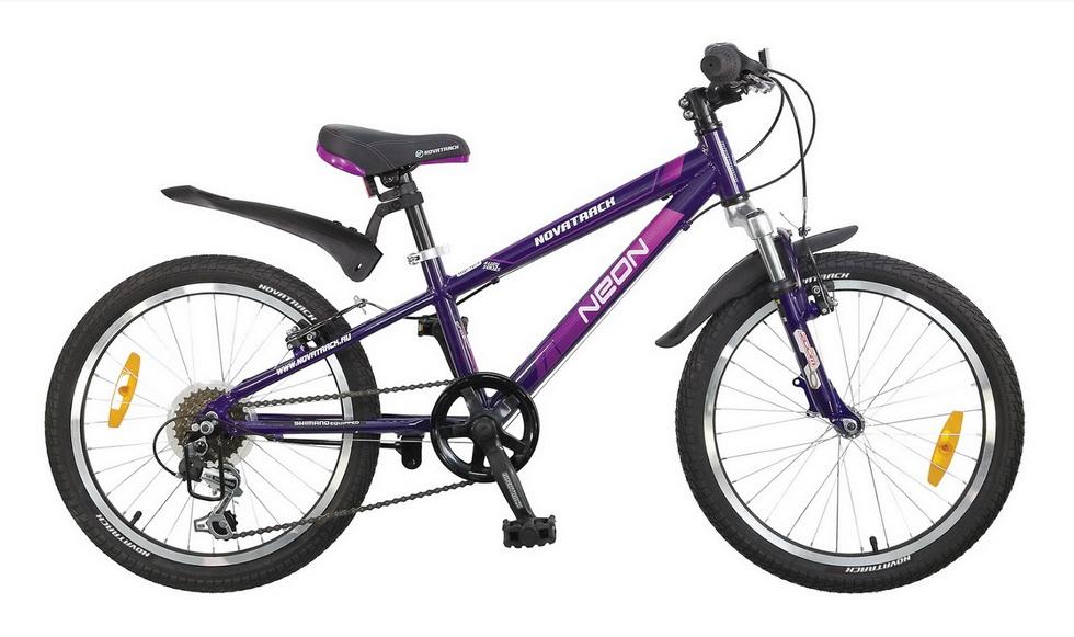 """Велосипед 20"""" Novatrack Neon, 6ск, алюминиевая рама, фиолетовый"""