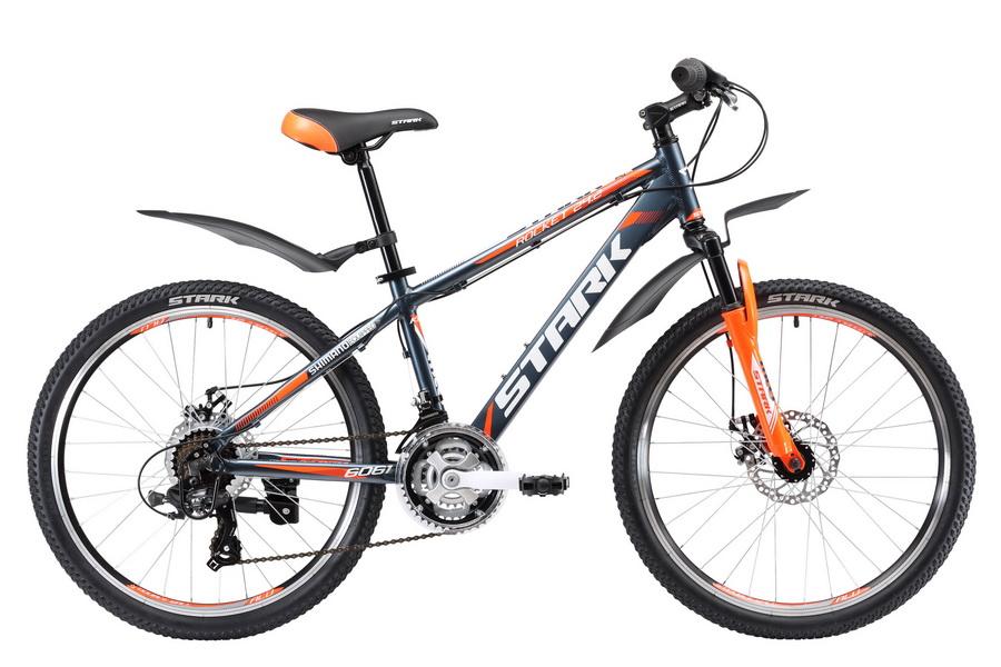 """Велосипед 24"""" Stark Rocket 24.2 D, 21 ск, AL, Disc, серо-оранжевый, модель 2017"""