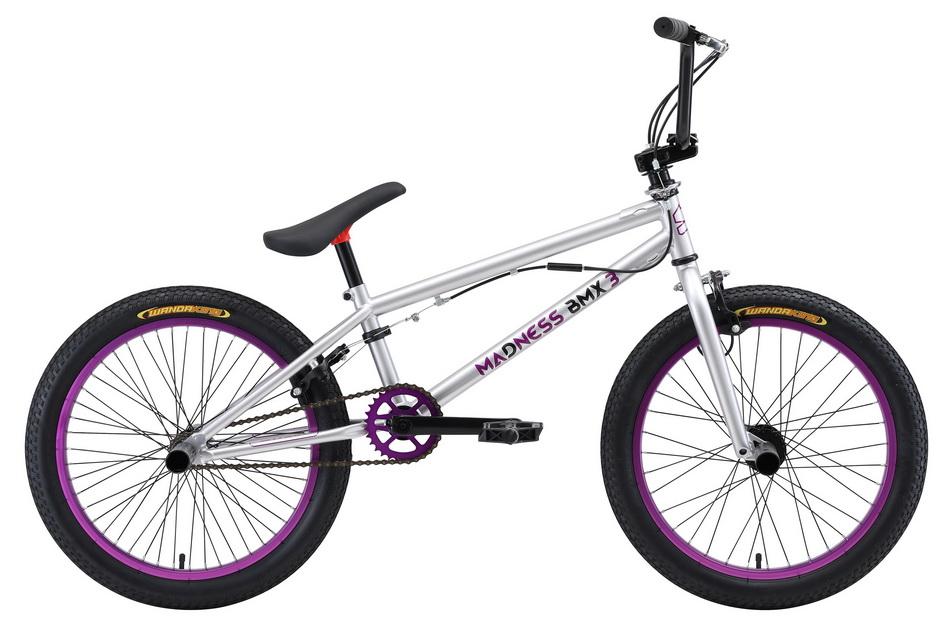 """Велосипед 20"""" Stark BMX 3 Madness, St, серебристо-фиолетово-чёрный, модель 2018"""