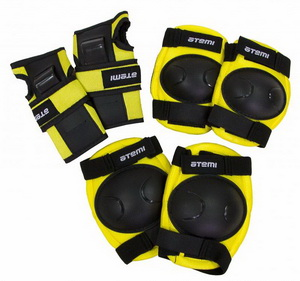 Велоформа Защита детская NEON, ASGK-03, р.XS, набор (колени+локти+кисти), жёлто-чёрная