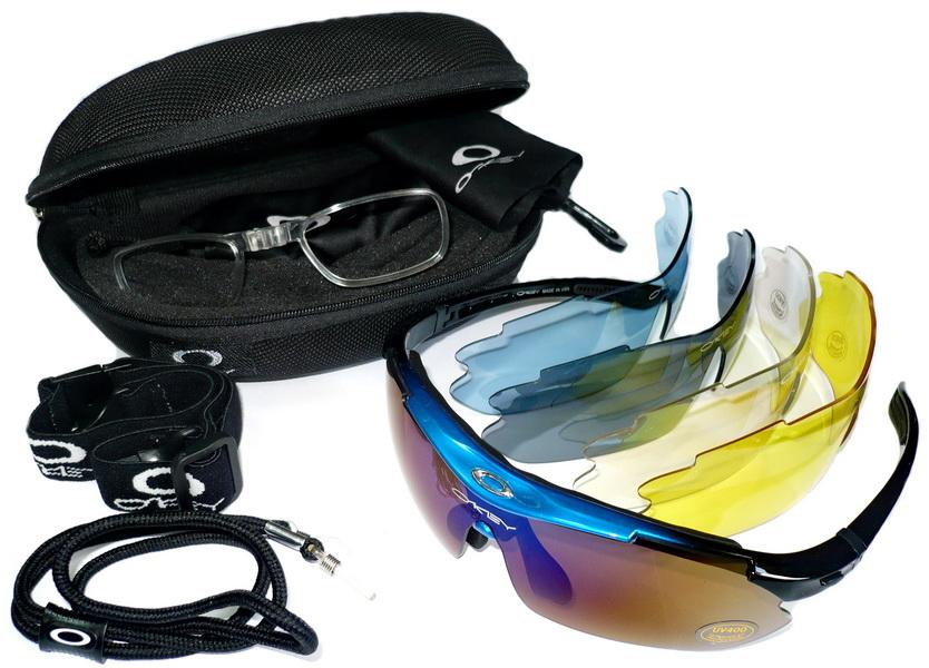 Велоформа Очки Okey 11, оправа сине-чёрная/красно-чёрная, линзы поликарбонат UV400 - хамелеон, прозрачные, голубые, серые, жёлтые   i