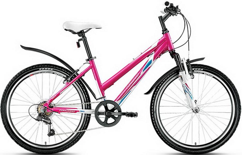 """Велосипед 24"""" Forward Seido 1.0 6ск, алюминиевая рама, V-br, бело-розовый"""