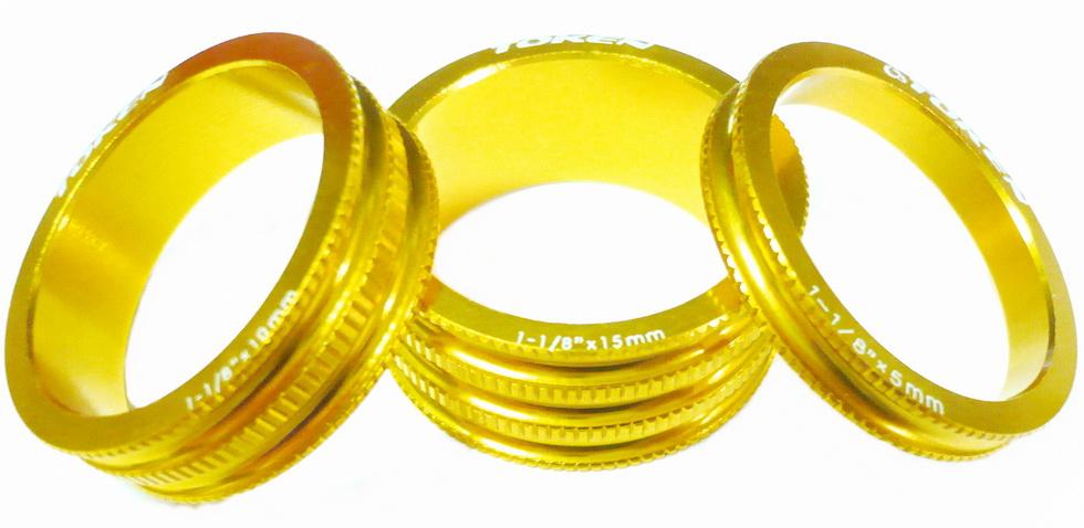 """Кольцо рулевой колонки 1-1/8"""" Н=5/10/15 Token TKA-1231 облегчённое, AL, золотистое (3шт.)   а"""