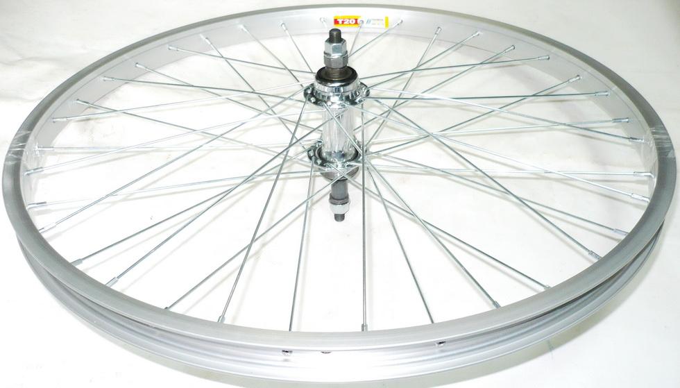 "Колесо заднее 24"" Rainbow T-20 серебристый 36Н + MTB OLD-135мм, Ø10мм, на гайках, под трещётку Shunfeng SF-HB03R St хромированная (1)"