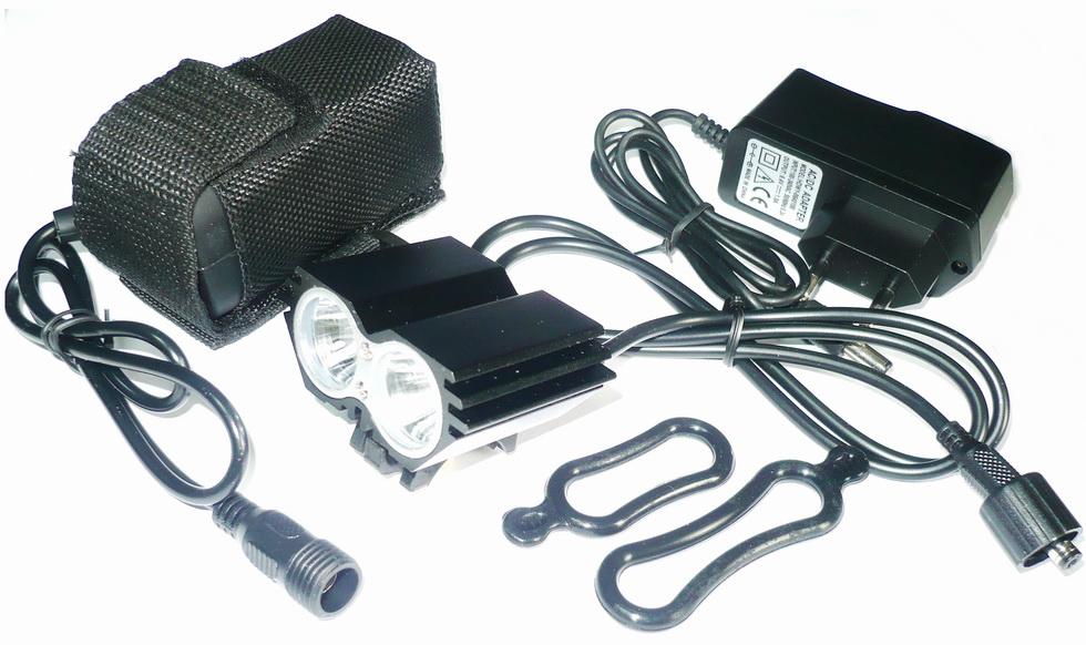 Фонарь передний VLX 2 диода, 4 режима, 2000Lm, аккумулятор 6Ач, зарядник 8,4v, AL корпус, VLX-1461, чёрный а