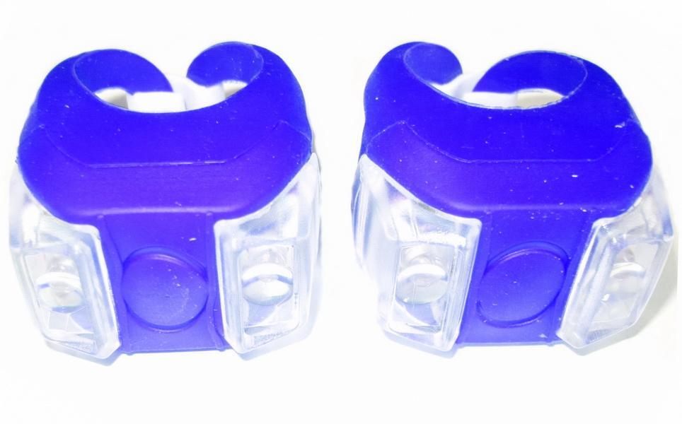 Фонарь задний + передний Vinca Sport 2 диода, 4 режима, силикон, с батарейками, VL 215, синий   v