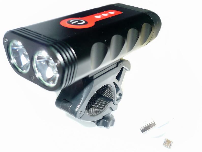 Фонарь передний VLX 2 диода, 6 режимов, 1200Lm, аккумулятор 4400 мАч, USB для зарядки, AL корпус, VLX-1580, чёрный а