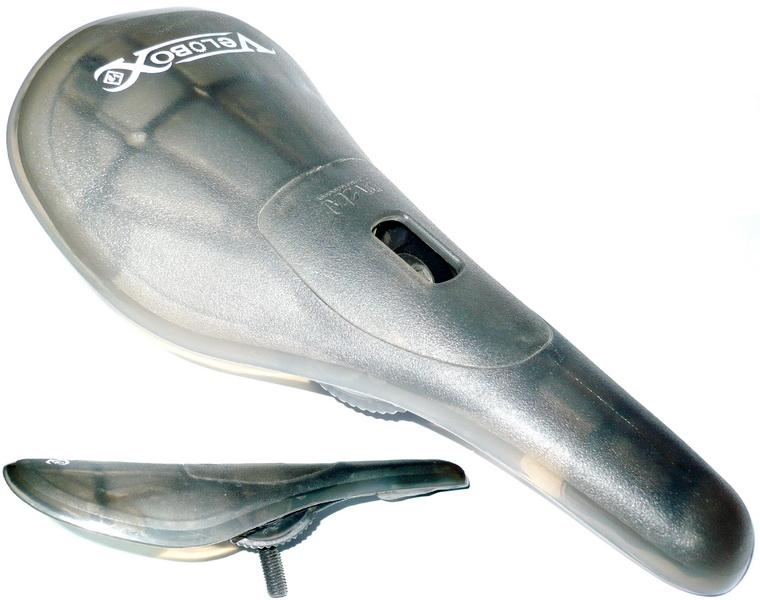Седло BMX Velo, VL-7101, Pivotal, пластиковое, без обшивки, прозрачно-чёрное