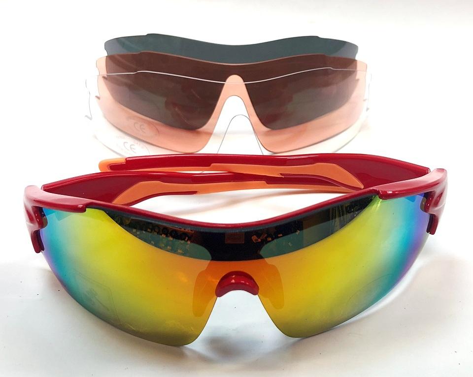 Велоформа Очки Mighty Rayon 710908, оправа красная, линзы поликарбонат UV400 - хамелеон, серые, прозрачные, оранжевые