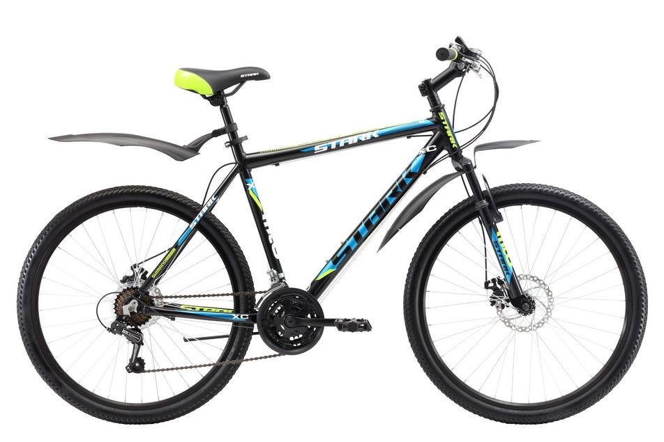 """Велосипед 26"""" Stark Outpost 26.1 D, (18"""") 21ск, AL, Disc, чёрно-зелёный, модель 2017"""