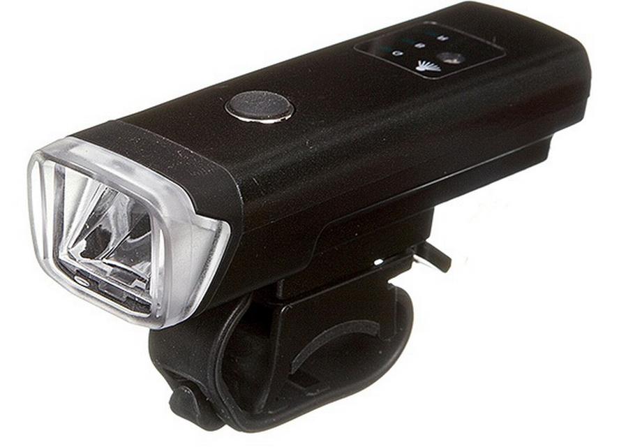 Фонарь передний STG 1 диод, 5 режима, аккумулятор, USB для зарядки, датчик освещения, FL1559, чёрный   г