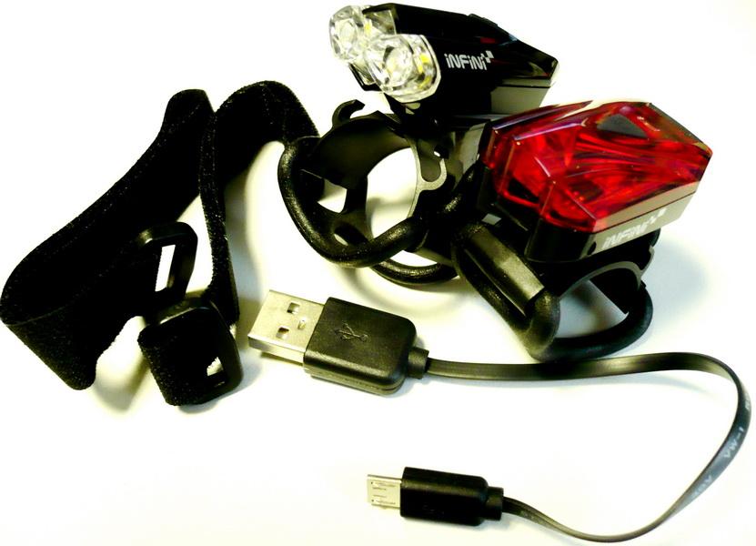 Фонарь задний + передний Infini, аккумулятор, USB для зарядки, индикатор заряда батареи, I-260 (W+R) LAVA  а