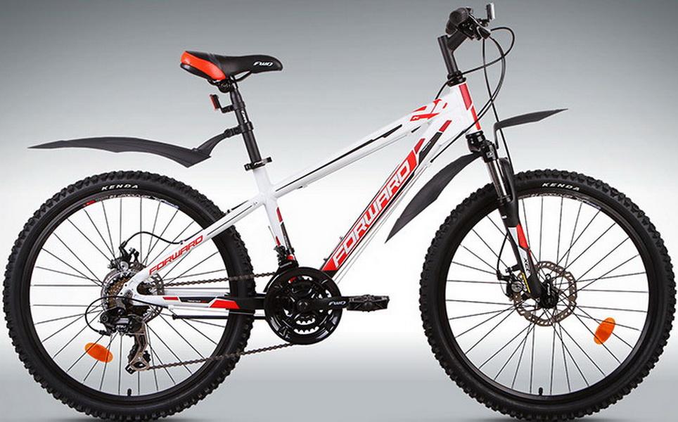 """Велосипед 24"""" Forward Twister 2.0 18ск, алюминиевая рама, Disc, бело-чёрный"""