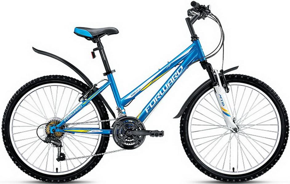 """Велосипед 24"""" Forward Titan 2.0 18ск, St, V-br, синий, """"low"""""""