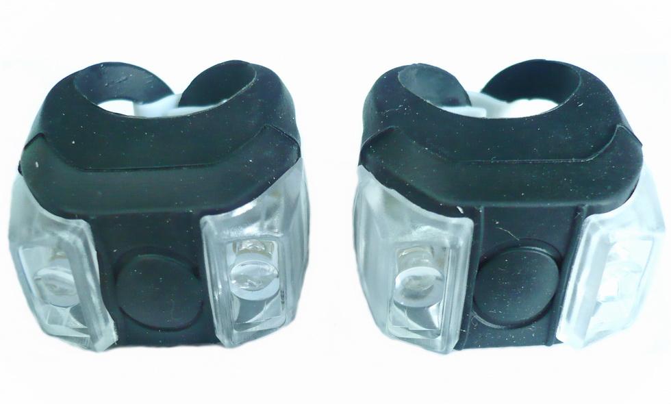 Фонарь задний + передний Vinca Sport 2 диода, 4 режима, силикон, с батарейками, VL 215, чёрный   v