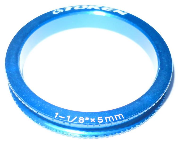 """Кольцо рулевой колонки 1-1/8"""" H=5мм Token TKA-1 облегчённое AL, синее   а"""
